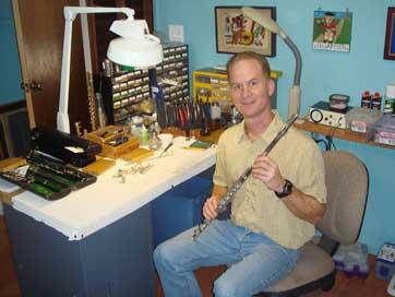 Paul Rabinov at the repair bench